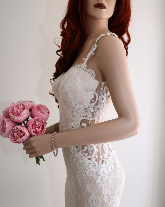 Wedding dress lace wedding dress backless wedding dress for Backless wedding dress bra