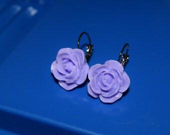 Violet Rose Leverback Earrings