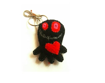 Black octopus keyring, black octopus keychain, black octopus pin cushion, zombie octopus keyring, black octopi bag tag, octopi keychain felt