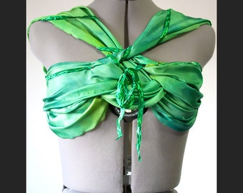 Green Silk Bandeau Festival Top, Boho Chic Green Bandeau with Corset Back, Front Knot Detail