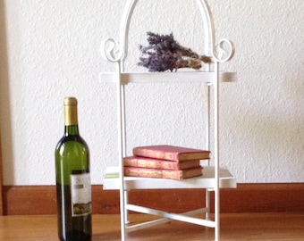 Vintage Wrought Iron Stand with Barn Wood Shelf, Plant Stand, Storage Shelf