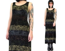 vintage 90s gothic maxi dress slinky soft grunge dress festival tumblr stretchy spandex small
