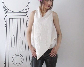 Extravagant V-Neck Triangle Top/Extravagant Crushed Cotton V-Neck Top/Lace/Deconstructed Top/Minimalist Clothing by FabraModaStudio/FAB112