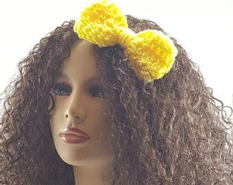 Yellow Crochet Hair Bow