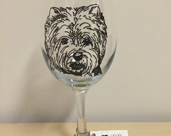 Hand Painted Westie Wine Glass or Pilsner Glass