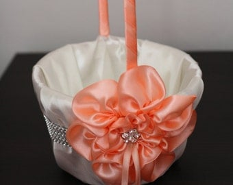Peach Flower Girl Basket \ Ivory and Peach Wedding Flower Girl Basket \ Peach Floral Basket \ Flower Petals Basket \ Ceremony Accessories