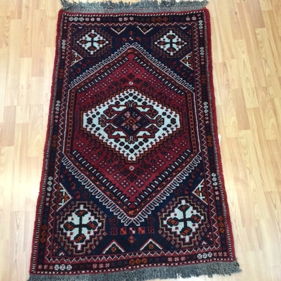 "2'8"" x 4'3"" Persian Shiraz Oriental Rug - Hand Made - Full Pile - 100% Wool - Vintage"