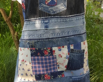 Denim patchwork apron