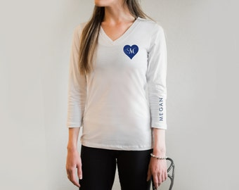 Personalized Shirt for Nurses - Heart Monogram