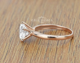 Round Solitaire Engagement Wedding Ring in Solid 14k or 18k Rose Gold, Solitaire Engagement Ring, Rose Gold Wedding Ring, Anniversary ring