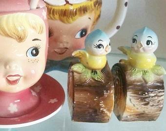 Vintage Norcrest Blue Birds, Blue Bird, Salt and Pepper shakers, Lefton, cake topper