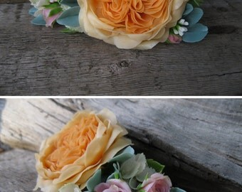 Bridal hair accessory Blush wedding head piece Wedding hair clip Peach flower hair piece Bridal flower headpiece Garden rose Nature wedding