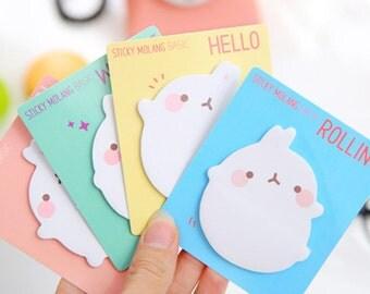Kawaii Molang Sticky Notes / Cute Sticky Notes / Kawaii Sticky Notes / Molang Notes / Cute Rabbit Notes / Bunny Sticky Notes / Stationary