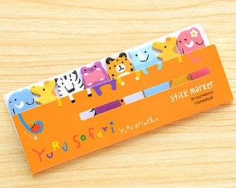 Safari Animals Sticky Notes - Cute Kawaii Post-It Notes / Stationery / Stationary / School Supplies / Memo Pad / Yuru Animal Safari