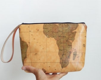 World map pencil bag,pencil case,zipper pouch,Back to School,Makeup Bags,Cosmetic Bags,Gift for her