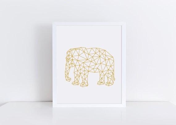 Gold Elephant Wall Decor : Gold elephant print art printable wall