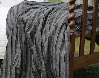 Linen blanket. Linen bed throw. Charcoal grey blanket. Natural bed throw. Bedspread. Large linen blanket. Queen linen blanket. Pleated.