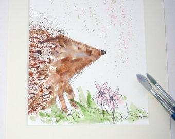 Hedgehog original painting, hedgehog art, hedgehog lover gift, hedgehog painting, hedgehog watercolour