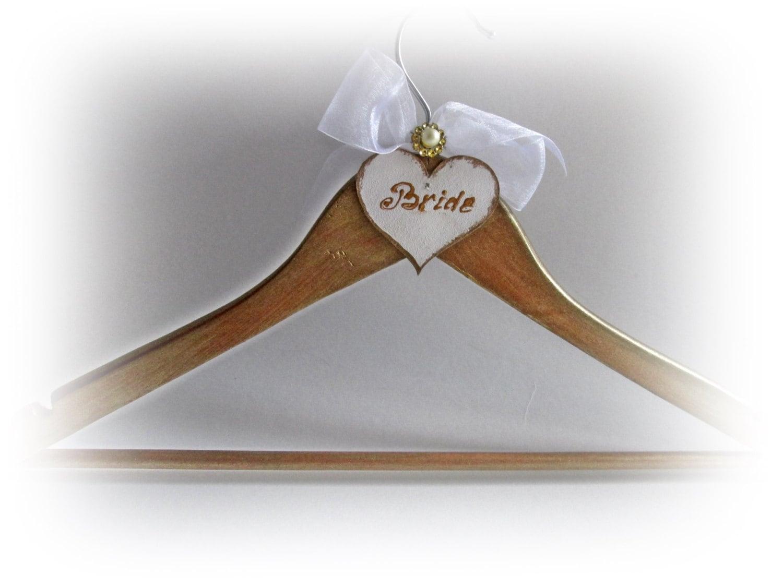 Personalized bridal hanger gold wedding hanger bride hanger for Wedding dress personalized hanger