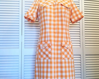 Vintage Mod Orange & Cream Checkered Dress with Pockets