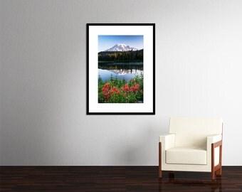 Matted Photo Print Mt. Rainier National Park Reflection Lake Wildflowers Washington Pacific Northwest Mountain Landscape Nature Photography