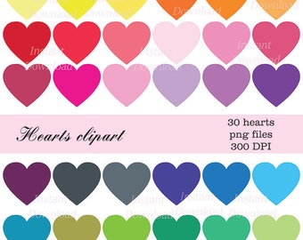 Hearts Clipart, Heart Clip Art, Digital Hearts, Hearts Instant Download, Multicolored Hearts Clipart, Valentine Clip Art, Hearts PNG