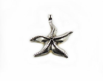 Starfish Pendant, Antique Silver Starfish, Large Pendant, Antique Pendant, Jewelry Making, DIY Pendant, Metal Pendant