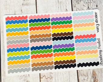 Wavy Divider Planner Stickers - Made to fit Vertical or Horizontal Layout