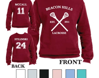 Teen Wolf Beacon Hills Lacrosse Crewneck Sports Scott McCall 11 Crewneck Stiles Stilinski 24 Lacrosse Crewnecks / TV Shows / Lahey /