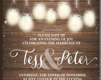 Wedding invitation printable rustic shabby boho chic mason jars and lights package + RSVP + Thank You card + 2 envelope stickers