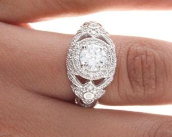 Vintage Engagement Ring, Vintage Diamond Ring, Art Deco Diamond Ring, Deco Diamond Engagement Ring, Antique Diamond Ring, Milgrain Ring