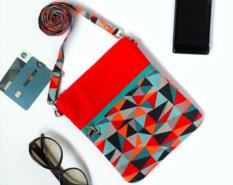 Cross body purse, Cell Phone bag, Small Crossbody bag iPhone 6 Shoulder Bag, Red Sling Bag