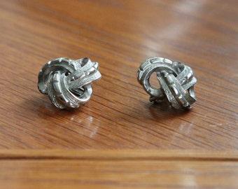 Coro silver knot earrings
