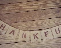 THANKFUL FALL ~ Burlap Banner/Garland ~ Thanksgiving Fall Autumn Holiday Decoration photo prop