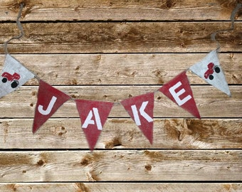 Birthday Shower Nursery Name Burlap Banners RED Tractor Farm  Party  signs Rustic baby decorations Photo prop