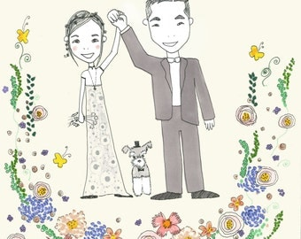 Custom Illustration for Wedding Invitations, Thank You Cards, etc.