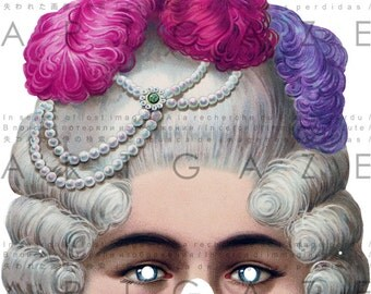 Marie Antoinette Half Mask Fab Victorian MASK MARDI GRAS Antique Paper Toy Printable Digital Mask Download. Carnival Party Supply.