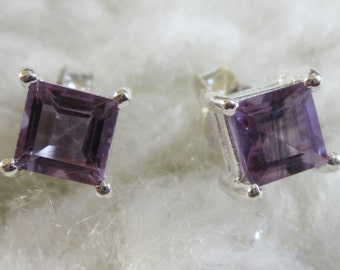 Square, Sparkling Amethyst Silver Stud Earrings