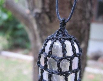 Clear Quartz Crochet Pendant