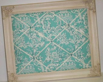 Teal Green Chinoiserie fabric Ornate Framed Memo Board
