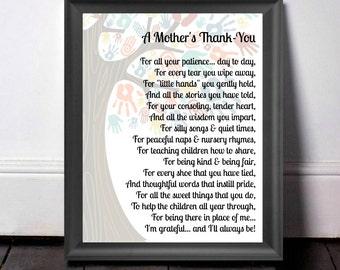 Childcare Thank You, Gift For Teacher, Thank You Gift, Babysitter Gift, Teacher Appreciation, Nursery Teacher Gift, A Mother's Thank You