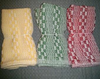 Set of three (3) Dishcloths Handwoven (natural fibers - 100% cotton)