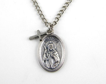 St. Jude Necklace, Patron Saint of Hope and Impossible Causes, Medal Necklace, Medallion Necklace, Protection Necklace