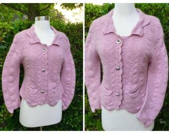 Soft Pink Angora Knit Sweater/ Large/ Button Down/ 2 Pockets