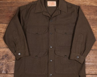 "Mens Vintage 1960s Filson Mackinaw Cruiser Jacket Union Made Olive Wool Size M/L 40-42"" HW70"