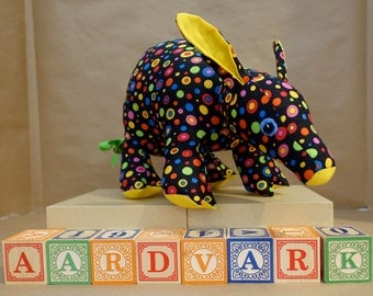 Stuffed Aardvark Toy in Polka Dots