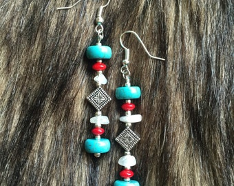 Earrings - Quartz Chip, Turquoise Howlite, Glass & Metal Beads - Native, Southwest, Bohemian