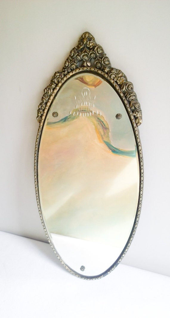 Vintage Oval Art Deco Etched Glass Floral Mirror By Nurre C