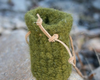 Moss green medicine pouch medicine bag neck pouch lightly felted wool leather strap adjustable strap