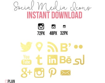 Social Media Icons Shape INSTANT DOWNLOAD Gold Foil